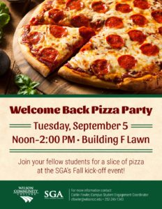 sga welcome back pizza party flyer wilson community college