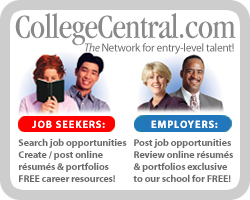 Graphic from College Central.com showing Job seekers and Employers can both utilize this site