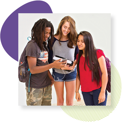 three students looking at device