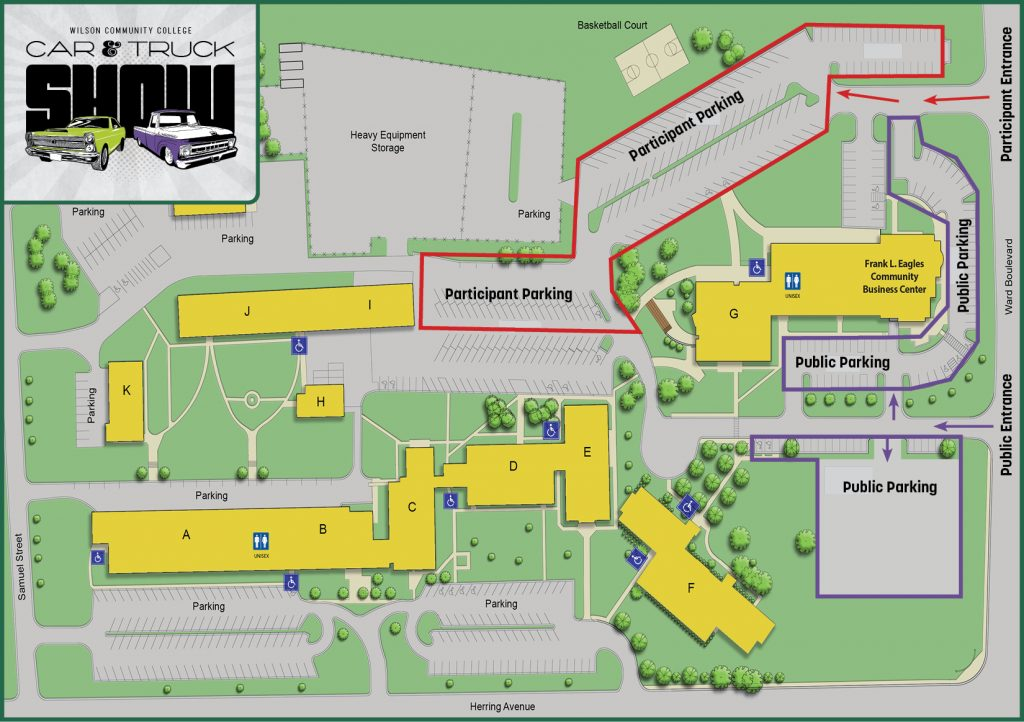 Campus map displaying public and participant parking areas
