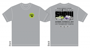 grey t-shirt with wcc logo on the front and car & truck show logo on the back