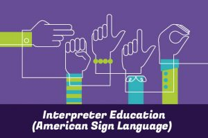 Interpreter Education (American Sign Language): illustration of hands signing H-E-L-L-O