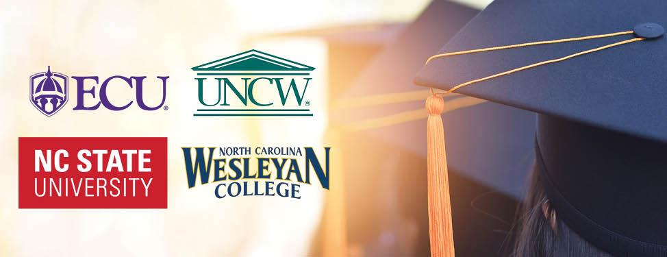 ECU logo, UNCW logo, NC State University logo, North Carolina Wesleyan College logo on a close up photo of graduation caps